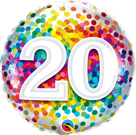 20th Birthday Confetti Design Foil Balloon